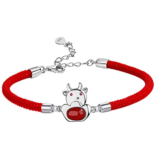 JIUXIAO Friendship Bracelets,Feng Shui Wealth Bracelet for Women 925 Sterling Silver Bull Red Agate Red Rope Bracelet Zodiac Bracelet for Good Fortune Courageous Lucky and Wealth