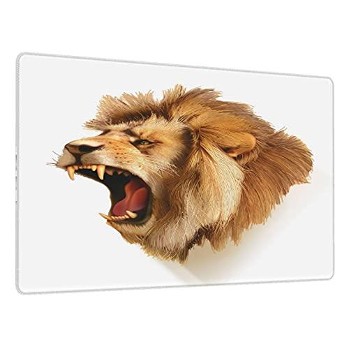 Alfombrilla de ratón para Juegos,Cubre rugiente Cabeza de león Salvaje Safari Animal Africano Dibujos,Escritura de Escritorio Impermeable de Goma Antideslizante para Oficina y hogar 800×300×3mm