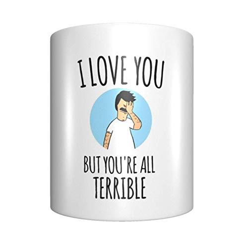 Taza de café de cerámica con texto 'I Love You But Youâ&;re All Terrible, única novedad, taza de té para el hogar y la oficina para los amantes del anime Festival de regalo de cumpleaños