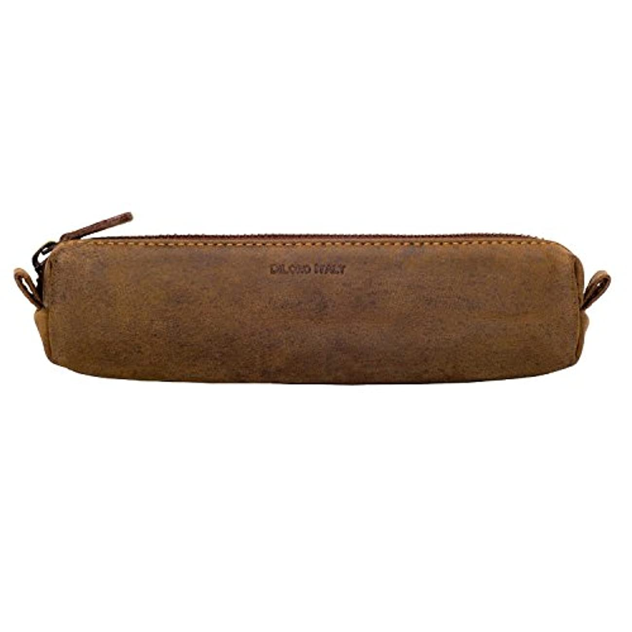 DiLoro Italy Zippered Vape Fountain Ballpoint Rollerball Pens and Pencils Case Holder Pouch Genuine Full Grain Soft Nappa Leather (Buffalo Hunter Brown)