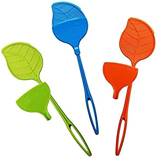 Valerisa Fly Swatter with Dust Pan - Heavy Duty - Plastic - Colorful 3 Pack (Green, Blue, Orange)