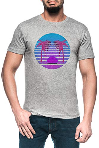 Conducir Abajo Vapor Ola Hombre Gris Camiseta Manga Corta Men's Grey T-Shirt
