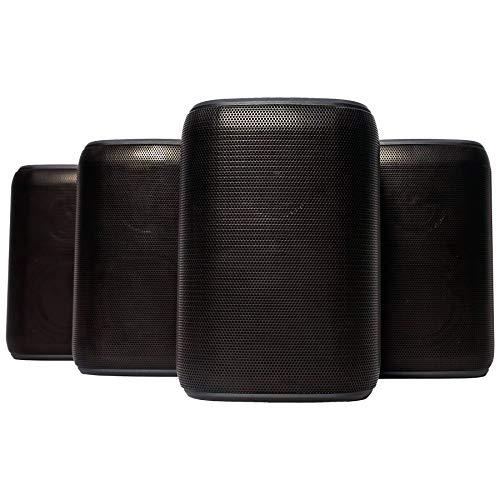 Rocksteady Portable Bluetooth Speakers (4 Speakers) | Bluetooth Speakers Outdoors | Black Bluetooth Speakers | 100 Feet Bluetooth Range | 18 Hour Long Battery Life | Immersive Sound