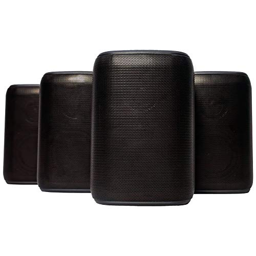 Rocksteady Portable Bluetooth Speakers (4 Speakers) | Bluetooth Speakers Outdoors | Black Bluetooth Speakers | 100 Feet Bluetooth Range | 18 Hour Long Battery Life | Immersive Sound