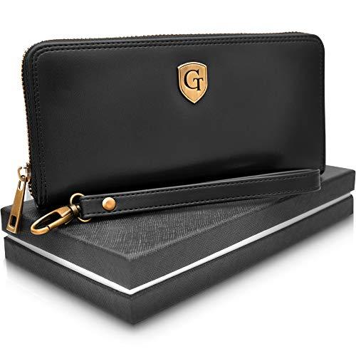 GenTo® Mailand Damen Geldbörse - Großes Frauen Portemonnaie mit RFID Schutz - XL Geldbörse mit vielen Fächern - Geschenk für Damen - erhältlich in 5 Farben (Nachtschwarz - Glatt)