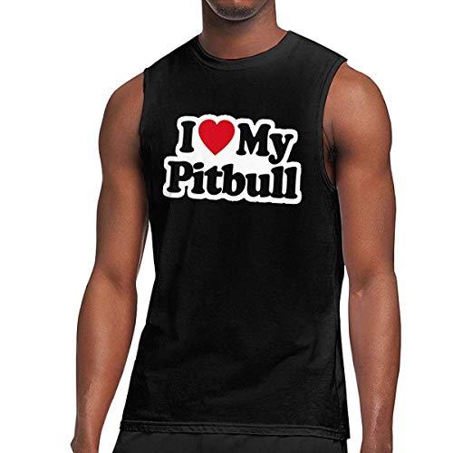TYUHN Mens I Love My Pitbull - Camiseta sin Mangas musculosa My Pitbull is My Best Friend, Camiseta sin Mangas Casual para Hacer Ejercicio Deportivo