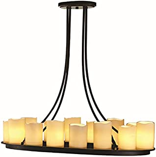 allen + roth Harpwell 17-in 14-Light Oil-Rubbed Bronze Mediterranean Tinted Glass Shaded Chandelier