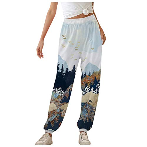 Fastbot women's Trousers Fashion Mountain Treetop Printed Pants Sports Running Yoga Athletic Pants with Pocket