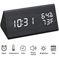 Jchornor Digital Alarm Clock with USB Charger,Dual Temperature & Humidity Detect (Black)