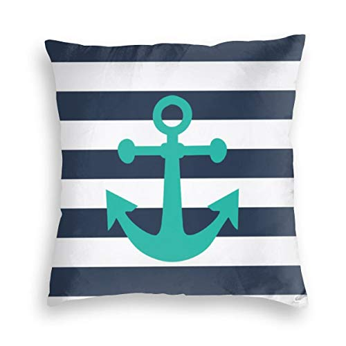 Feamo Nautical Navy Blue Stripes Turquoise Anchor Velvet Soft Decorative Square Throw Pillow Covers Cushion Case Pillowcases for Sofa Chair Bedroom Car 18X18inch