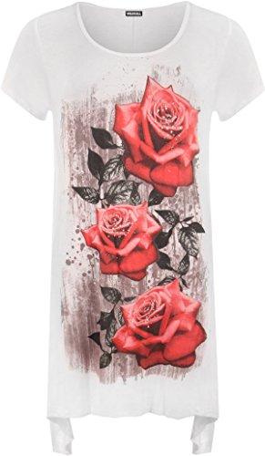 UW LOOK FASHION Nieuwe Womens Plus Size Ongelijke Hanky Hem T-shirt met korte mouwen Top Dames Bloemen Rose Print Jersey Tuniek (UK 14, wit)