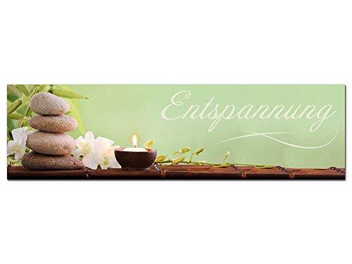 GRAZDesign Bilder für Schlafzimmer Flur Entspannung, Dekoration Wohnung modern Wellness mit Basaltsteine, Wandbilder Kerze grün Spa Bereich / 180x50cm