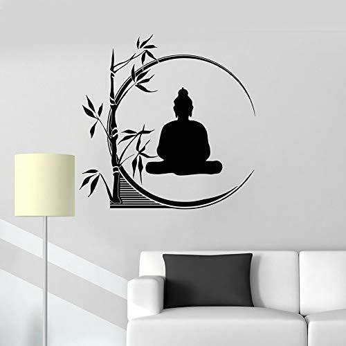 Vinyl Wandtattoo Buddha Meditation Kreis Yoga Reed Buddhist Interior Decor Fenster Glasaufkleber Entspannendes Bambus Wandbild 57x57CM