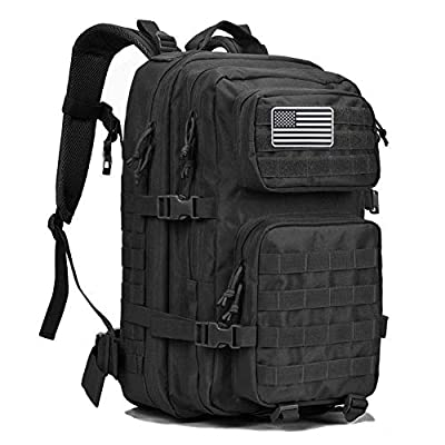 Dunnta Tactical Backpack, 3 Day Assault Pack Molle Bug Out Bag 42L Military Backpack for Hiking Camping Trekking Hunting Black