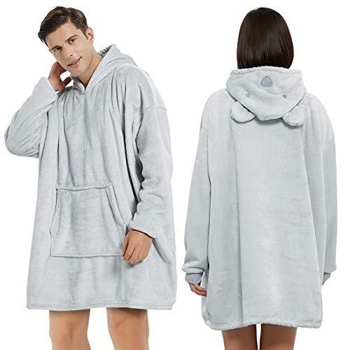 BALCONY & FALCON Manta de felpa con capucha Oversize Sherpa manta de punto de peluche manta con mangas pijama Cosplay para mujer y hombre, Oso, Large
