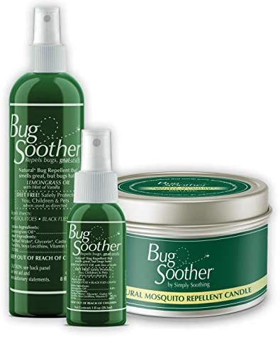 Bug Soother Natural Insect Gnat and Mosquito Repellent Candle 8 oz 1oz Bottle of Bug Spray Deterrent product image