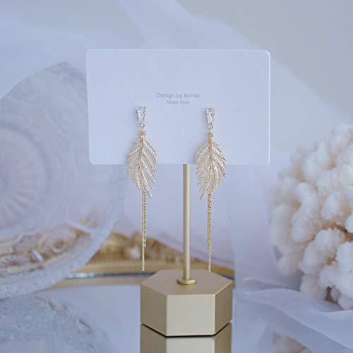 Daman Pendiente de Borla de Hoja de Oro de diseño Exquisito para Mujer Pendiente de circonita Micro pavé de Oro Real Accesorios de Bohemia, Pendiente de Hoja