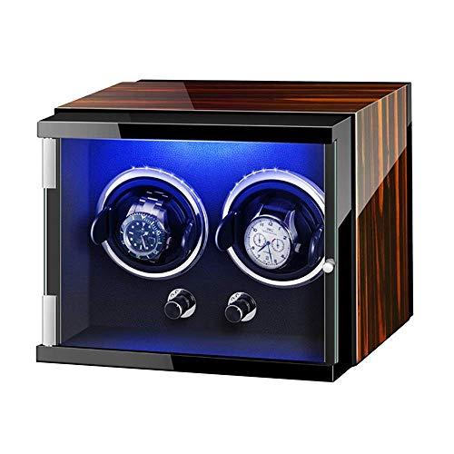 LLSS Caja enrolladora de Reloj automática con Luces de Colores Pintura de Piano Exterior Ajustable Almohadas de Reloj Adaptador de CA y Funciona con Pilas