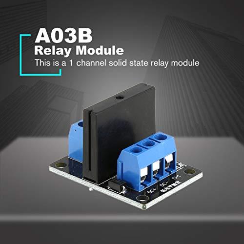 zhouweiwei 1-Kanal-Halbleiterrelais-Modulplatine Low-Level-Trigger SSR-Eingang 5-V-DC-Ausgang 240-V-AC-2-A-Sicherung für Arduino-SPS-Controller
