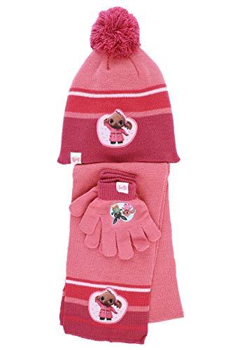 Characters Cartoons Bing Bunny – Juego de invierno de 3 piezas, gorro y guantes y bufanda para el cuello [Bing rosa oscuro 1445 – Talla única]