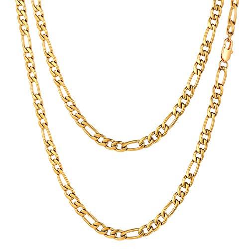 FOCALOOK Chaîne Homme Doré 5mm Collier Plaqué Or Jaune Maille Figaro 3 en 1 Chain Necklace pour Garçon Rapper Accessoire Bijoux Hip Hop Style 50cm/20