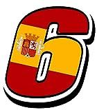 Biomar Labs® Número 6 Bandera Nacional España Spain Calavera Vinilo Adhesivo Pegatina Coche Auto Motocross Moto Sport Start Racing Tuning N 286Z