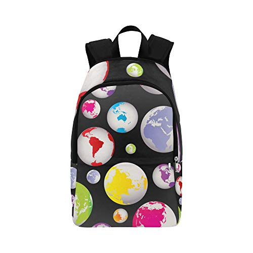 ZXWXNLA Youth Travel Bag Abstract Global Earth Globes Durable Water Resistant Classic Best Hiking Bag Girls College Bags Kid School Bag Shoulder Bag Casual