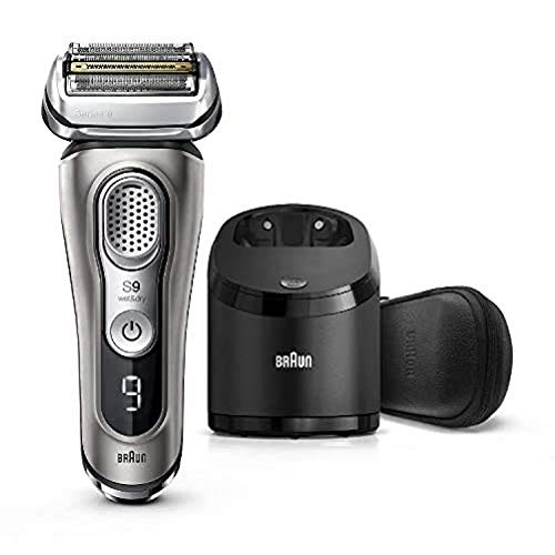 Braun Electric Razor for Men, Series 9 9385cc, Electric Foil Shaver, Precision Beard Trimmer, Rechargeable, Cordless, Wet & Dry Foil Shaver, Clean & Charge Station and Leather Travel Case