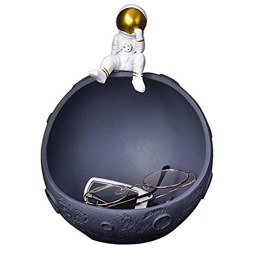 Bandeja de almacenamiento para decoración de astronautas, cesta de almacenamiento de joyas de material de resina, bandeja de frutas secas, decoración de almacenamiento de astronauta