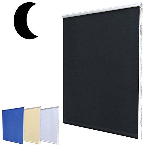 Hossi's Wholesale Noche Oscuro–Estor Mini DKL sin Agujeros Incluye Soportes de Sujeción/Negro 50x 100cm (Ancho x Altura)
