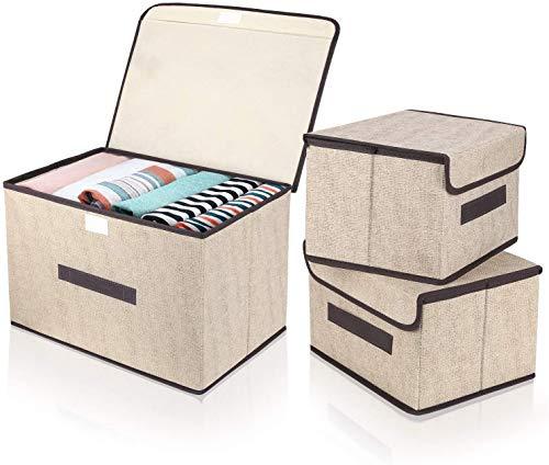 DIMJ Cajas Almacenaje con Tapa, Conjunto de 3 Cajas Organizadoras Plegable, Cubos de Almacenamiento con Asa, Organizadores de Contenedore para Ropa Juguetes Libros (Beige)