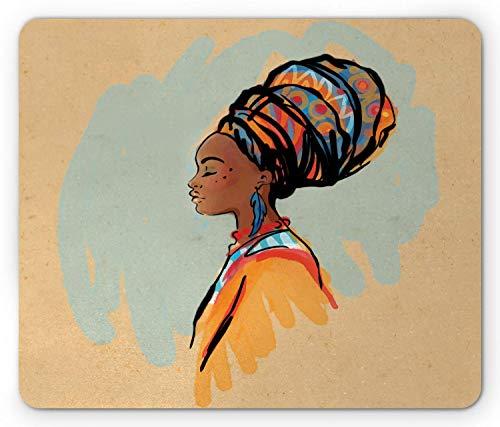N\A Alfombrilla de ratón Africana Ambesonne, Retrato de Perfil de Acuarela de Mujer nativa con Peinado y Pendientes, Alfombrilla Rectangular de Goma Antideslizante, tamaño estándar, marrón Pastel