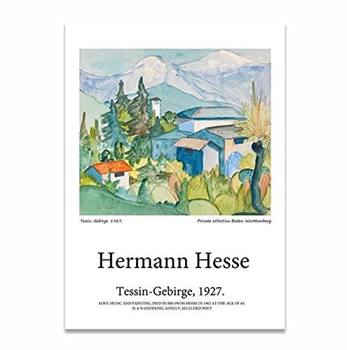 Hermann Hesse TessinGebirgeキャンバス絵画風景ポスターポップアートプリント装飾壁の写真リビングルームの家の装飾-50x70CMフレームレス