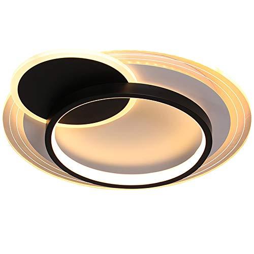 Lámpara Techo LED Moderna Sala Estar Regulable Con Control Remoto,Plafón Comedor Diseño Redondo,Φ42CM/36W, Temperaturas Color 3000-6000K Para Dormitorio, caffetteria, Estudio,Negro