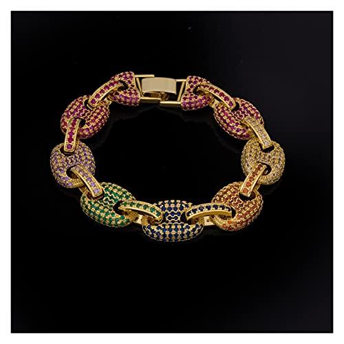 LYWER Zircon Color Diamond Coffee Coffee Chain Hip Hop Bracelet Hombre 18k Rhinestone Completo Pulsera Pulsera Regalo ( Color : H8 )