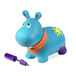 HIPPO BOUNCER: Hop on this ride-on bouncer and let your wobbles out! Recommended for 18 months and up. AIR PUMP INCLUDED: Comes with a manual air pump to get Hankypants up to maximum bounce in 5 to 10 minutes! HOP ON: Ergonomic and unique design, thi...