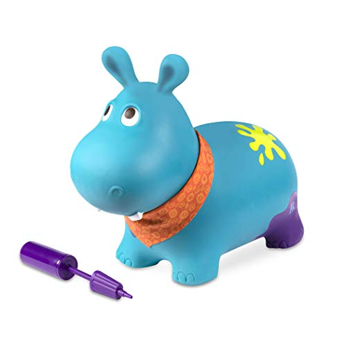 B. toys Hüpftier Hippo mit Handpumpe – 42cm Aufblasbarer Blauer Hüpfball in Tierform für Kinder ab 18 Monaten (3 Teile)