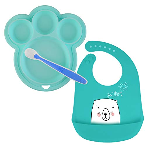 ANBET Plato de silicona para bebés con cuchara blanda y babero Recipiente...