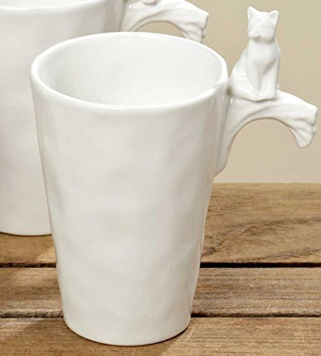 Becher - Waldtiere - Dolomit Tasse Kaffeebecher Teetasse Geschirr Haferl weiss, Ausführung:D