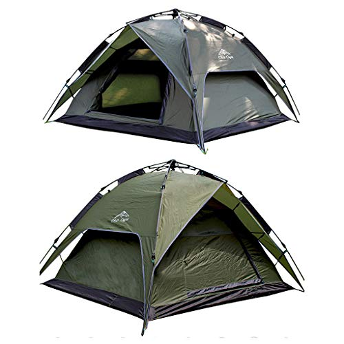 JINGQI Free To Build Automatic Pole Tent, Outdoor Camping Tent, Travel Tent, 3~4 People, Double-Layer Double Door Rainproof Light Tent,Green