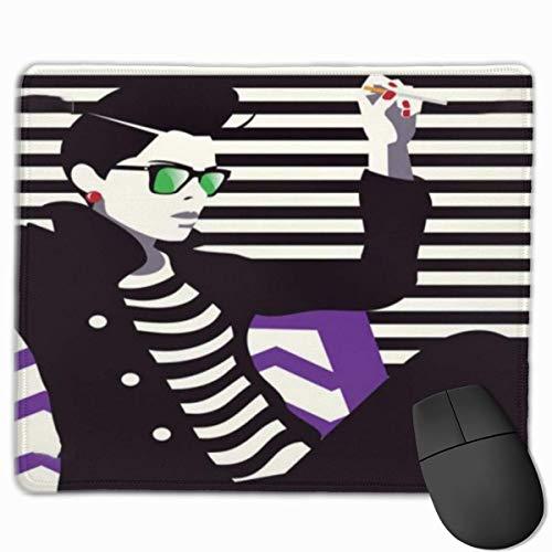 Niedliches Gaming-Mauspad, Schreibtisch-Mauspad, kleine Mauspads für Laptop-Computer, junge Frau mit Sonnenschutz in Sonnenbrille mit maskuliner Kleidung Beauty Printblack Elfenbein und Lila