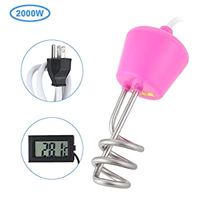 Immersion Water Heater, Haofy 110V Stainless Steel Spiral Electric Floating Immersion Heater Boiler Auto Shutoff Water Heating Element with Digital Thermometer for Bathtub (Pink)