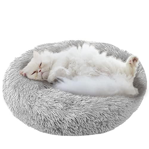 ComfyDegree Runde Haustier Katze beruhigende Bett, Haustierbett , Kissen Katze Bett, Runde Sofa Haustier Katze Haustier Bett, Maschine waschbar, rutschfest, weich & warm 50cm (grau)