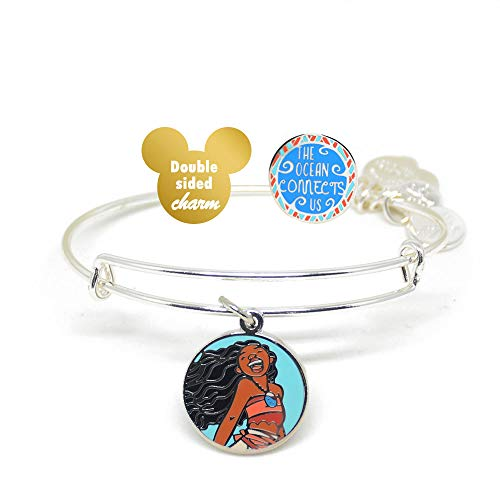 Alex and ANI Disney Parks Moana The Ocean Connects Us - Disney Princess Double Sided Charm Bangle - Inspirational Quote - Charm Bracelet Jewelry Gift (Silver Finish)