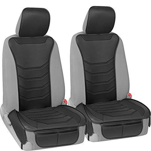 Motor Trend LuxeFit Black Faux Leather Car Seat Cover for Front Seats, 2 Piece Set – Padded Universal Fit Luxury Cover, Faux Leather Sideless Protector for Car Truck Van & SUV
