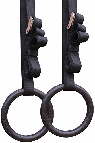 Gymnastic Rings w/Straps Buckle Gym Strength Pull Up Dips Fitness Gym