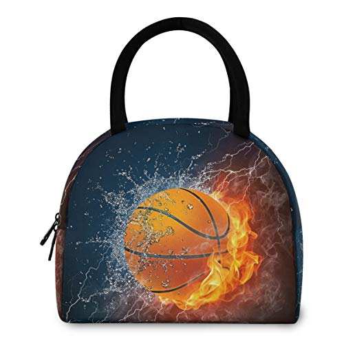 ZzWwR Cool Basketball in Fire and Water Reusable Lunch Tote Bag with Front Pocket Zipper Closure Insulated Thermal Cooler Container Bag for Work Picnic Travel Beach Fishing