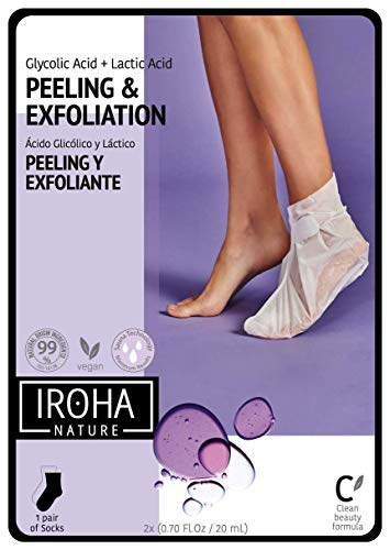 Iroha Nature - Calcetines Exfoliantes para Pies con Lavanda, 2 Calcetines para un uso | Calcetines Mascarilla Pies Exfoliación Progresiva