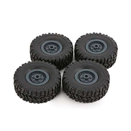 Neumático de llanta de 4 Piezas para Coche de Escalada RC 1/16 WPL B-1 / B-24 / C-14 / C-24 / B-16 (Azul Oscuro)