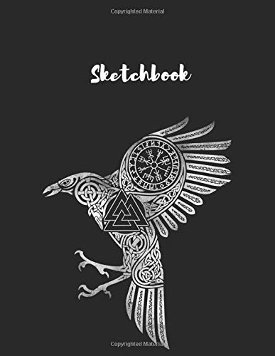 Sketchbook: Raven Eyes Of Odin Vikings Helmet Celtic Knot Unlined Pages Sketchbook White Paper Blank Journal with Black Cover Marble 115 Pages Large Size 8.5in x 11in for Kids or Men and Women Travel